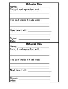 Students need an opportunity to think about the behavioral choices they make. This form will give students just that. They will tell what their cho...