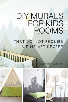 You don't need a fine art degree to create the perfect mural for your kids's room. There are loads of options for the slightly less artistic / nervous of trashing the place, haha... go on, have a go! #homedecor #DIY #kidsrooms
