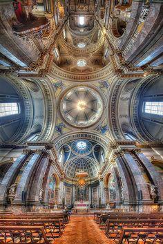 Brompton Oratory in Kensington, London Kensington London, Antique Cameras, Brompton, I Want To Travel, Ceilings, Interior Architecture, City Photo, England, Europe