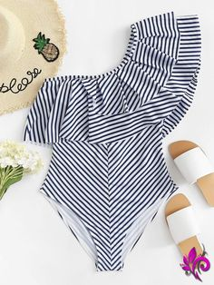 Shop Layered Flounce Striped One Shoulder One Piece Swimsuit online. SHEIN offers Layered Flounce Striped One Shoulder One Piece Swimsuit & more to fit your fashionable needs. Monokini, Bikini Sets, Summer Outfits, Cute Outfits, Model Outfits, Cute Bathing Suits, Cute Swimsuits, Beachwear For Women, One Shoulder