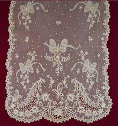 Antique Carrickmacross Lace Shawl.