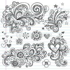 Sketchy Back to School Notebook Doodles — Imagen vectorial #5469911