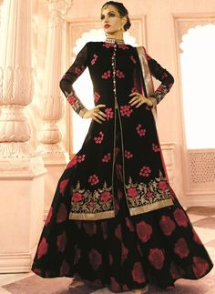 Black Colored Georgette Fabric Suit with Chiffon Fabric Dupatta