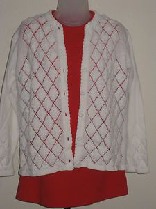 New Look Early 60's Daisy Pattern Knit Cardigan Sweater - Auction starting price is $9.95