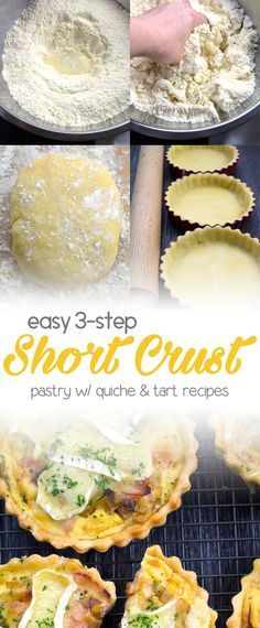 Easy Shortcrust Pastry - 3 easy steps and 10 min prep time. Substitute almond flour to make it KETO. Super versatile pastry that can be used in pies, pasties, quiches and tarts! Quiche Tart Recipe, Quiche Recipes, Tart Recipes, Almond Recipes, Vol Au Vent, Easy Pastry Recipes, Cooking Recipes, Easy Shortcrust Pastry Recipes, Quiche Pastry