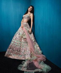 Gorgeous light green silver bridesmaids lehenga on Allana Pandey. Indian Lehenga, Lehenga Choli, Anarkali, Sabyasachi, Indian Bridal Outfits, Indian Fashion Dresses, Lehnga Dress, Salwar Kameez, Kurti