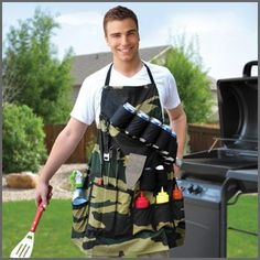 Get your grill on  Our unique camouflage grilling apron holds everything a real man could want or need for an afternoon of fun.   Holds 6 beverage cans or bottles, comes with a built in can opener, and more pockets then he could ever need. Made from 100-Percent cotton, one size fits all, fully adjustable length.