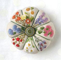 Reserved for Annie Summer Garden Linen Pincushion by fiberluscious, $125.00