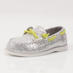 Silver Boat Shoes with neon laces for babies- Carters