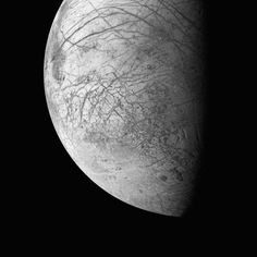 Here's What Space Actually Looks Like to the Human Eye | The ridges and faults of Europa's icy surface. It's one of Jupiter's many moons. Galileo, March 29, 1998. | Credit: NASA/JPL/Michael Benson, Kinetikon Pictures, courtesy of Flowers Gallery | From Wired.com