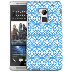 HTC One Max Victorian Scroll Floral Blue on White Slim Case