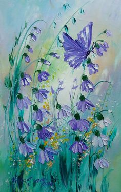 Purple Butterfly Flowers Original Impasto Oil Painting Meadow Europe Artist 12in #Impressionismimpasto