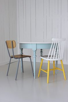 Yellow white chair/leave legs natural to match dinning room table