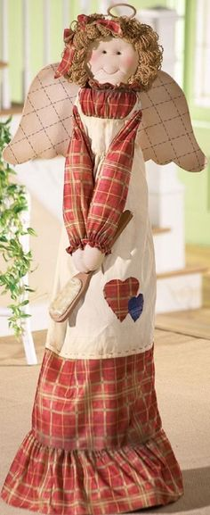 "Adorable Angel Girl in Plaid Upright Vacuum Cleaner Cover Country Decor 55""H #WMI #Patchwork"