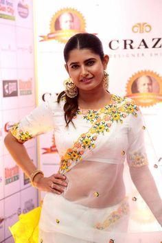 Ashima Narwal in White Saree at Dadasaheb Phalke Awards South