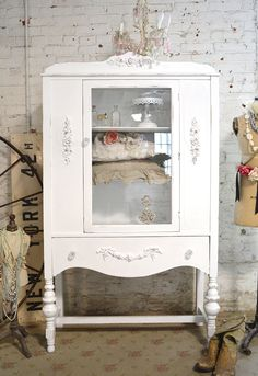 Painted Cottage Chic Shabby White Romantic French China Cabinet