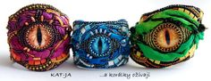 Dračí rok - Dragon year - bracelets, bead embroidery with silk by Katka Václavíková