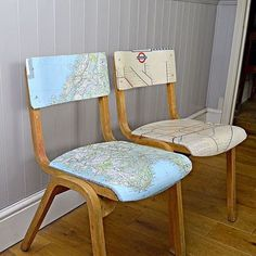 Personalized map chairs, DIY. Upcycle some old chairs by decoupaging them with maps of your favourite places.