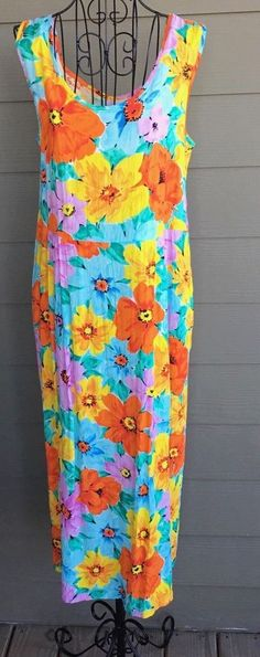 Jams World Hawaiian Floral Print Midi Dress Sleeveless Aqua Pink Size Large #JamsWorld #Dress