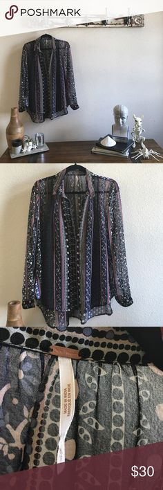 Free People Gather Back Tunic This is so pretty and pic 3 shows how the back can be cinched to adjust fit. It's a small but tunic length and oversized. Free People Tops Blouses
