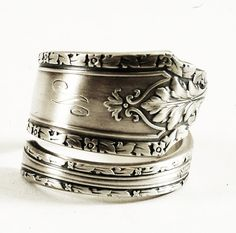 Victorian Floral Sterling Silver Spoon Ring Whiting Pattern of 1925 Cinderella with Mono N, Handmade & Adjustable to Your Size (3917)