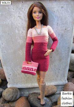 Barbie fashion clothes Barbie Clothes Patterns, Crochet Barbie Clothes, Crochet Doll Pattern, Crochet Dolls, Fashion Models, Fashion Outfits, Fashion Clothes, Barbie Family, Friend Outfits