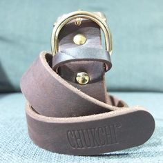 CHUKCHI Brown Genuine Leather Dog Collar Set