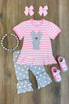 Gray Polka Dot Bunny Boutique Set
