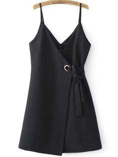 To find out about the Black Spaghetti Strap Side Tie Asymmetrical Dress at SHEIN, part of our latest Dresses ready to shop online today! Knee Length Dresses, Dresses With Sleeves, Plunging Neckline Dress, Casual Dresses For Women, Clothes For Women, Dress Casual, Asymmetrical Dress, Dress To Impress, Trendy Fashion