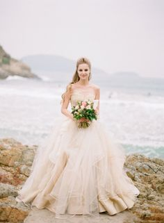 Collection of sea life inspired wedding dresses shot at Big Wave Bay in Hong Kong | see more on http://burnettsboards.com/2013/09/stunning-sea-life-inspired-bespoke-wedding-dresses/