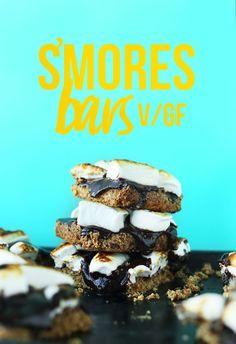 AMAZING EASY Vegan GF S'MORES BARS! Crunchy almond-oat crust, chocolate ganache, vegan marshmallows! #vegan #glutenfree #smores #recipe