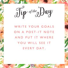 A simple #tip to help you review your #goals daily... #Tipoftheday