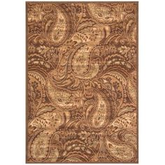 Essentials Paisley Brown 7 ft. 9 in. x 10 ft. 8 in. Area Rug, Brown/Ivory/And Sage