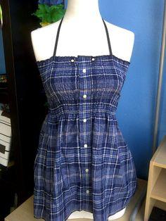 Shirred Halter Dress -Upcycled Men's Shirt
