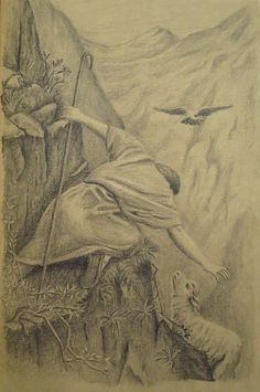 """The good Shepherd, and the lost sheep.   From the parable found in Luke 10. Drawn with pencil on a5 size kraft paper. From a painting by Alfred Soord.  John 10:11 """"I am the good shepherd. The good shepherd lays down his life for the sheep."""""""