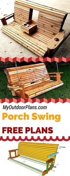Free porch swing plans - Learn how to build a porch swing with my free plans and step by step instructions and diagrams! myoutdoorplans.com #diy #porchswing                                                                                                                                                                                 More