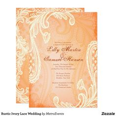 Rustic Ivory Lace Wedding Card