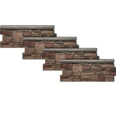 Urestone Ledgestone Wainscot 48 in. x 24 in. Mocha Faux Stone Panel - The Home Depot Exterior Stone Wall Cladding, Stone Veneer Exterior, Stone Veneer Panels, Trek Deck, Faux Stone Walls, Brown Roofs, Faux Panels, Brick Paneling, Exterior House Colors