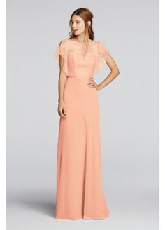 A delicate Chantilly lace flutter-sleeve bodice is paired with a floor-length chiffon skirt on this long bridesmaid dress. A thin ribbon accents the waistline. Wonder by Jenny Packham- Exclusively at David's Bridal. Jenny Packham Bridesmaid Dresses, Bridesmaid Dresses Plus Size, Wedding Dresses, Bridesmaid Gowns, Bridesmaids, Chiffon Dress Long, Chiffon Evening Dresses, Evening Gowns, Dress Lace