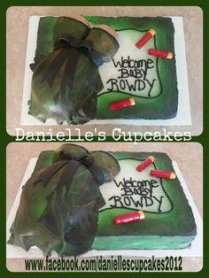 Camo and shotgun shell baby shower cake i made.  Chocolate and red velvet cake with buttercream and fondant.  Made by Danielle www.facebook.com/daniellescupcakes2012
