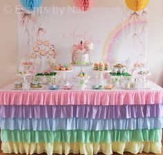 Dessert Table at a Pastel Rainbow Fairy Party #pastel #desserttable