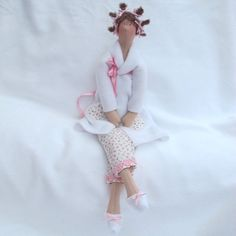 Tilda Doll - Bathroom  Doll pink ditsy. £20,00, via Etsy.