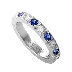 Cartier Lanieres Sapphire Diamond Gold Band Ring   From a unique collection of vintage band rings at https://www.1stdibs.com/jewelry/rings/band-rings/
