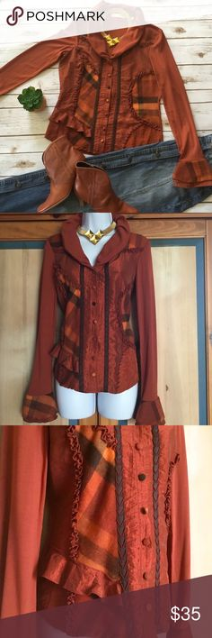 Spotted while shopping on Poshmark: Unusual Mixed Materials Long Sleeve Top / Jacket! #poshmark #fashion #shopping #style #Biba #Tops