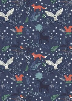 Winter Animals on Navy by Lewis & Irene, Woodland Winter, Christmas Fabric, Fabric by the Yard, Hol Woodland Creatures, Woodland Animals, Animal Wallpaper, Wallpaper Backgrounds, Ios Wallpapers, Woodland Fabric, Woodland Theme, Animal Quilts, Christmas Fabric