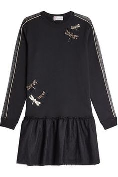 Cotton Sweatshirt Dress With Tulle Trim | RED Valentino