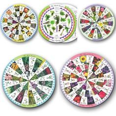 Garden Wheel 5 Pack - The outer wheel shows tall plants and the inner wheel shows the smallest plants for the front of the border. The back of each wheel contains additional details such as bloom time, sunlight and water needs. Includes the following wheels: Bulb, Perennial, Herb, Annual, and Shade.
