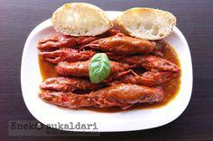 Cangrejos de río en salsa amama Puri. Receta paso a paso