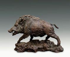 great black forest carved wood wild boar - in the manner of peter burri Art Sculpture En Bois, Bronze Sculpture, Lion Sculpture, Wood Carving Art, Wood Art, Cow Pictures, Wild Boar, Animal Heads, Animal Sculptures