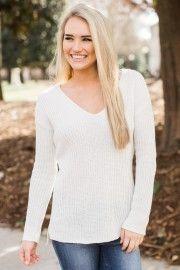 BB Dakota All In Favor White Sweater at reddressboutique.com